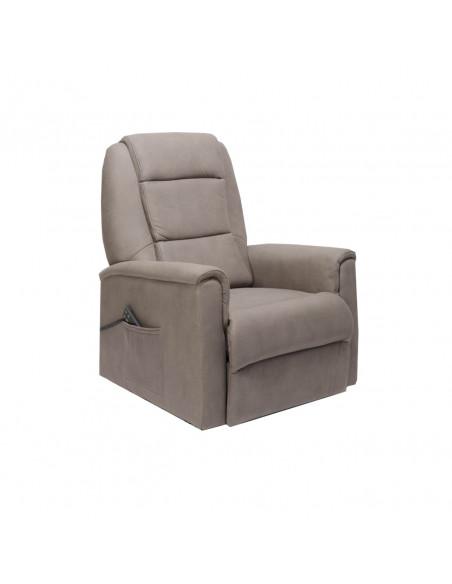 Poltrona elettrica 2 mot. reclinazione indipendente, alzapersona, seduta indeformabile, tessuto top simil pelle, mis. XL 250kg