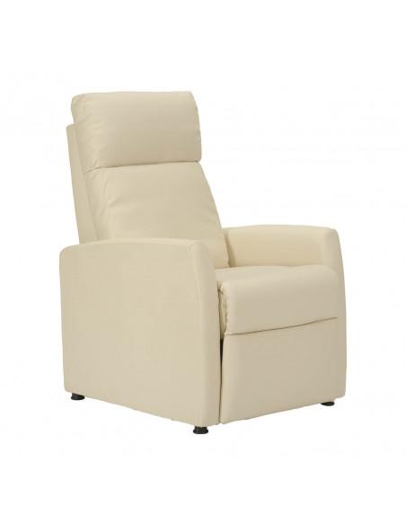 Poltrona relax, schienale e poggiapiedi reclinabili a pressione del corpo, 3 posizioni: seduto, disteso e TV. Ecopelle. Elegante