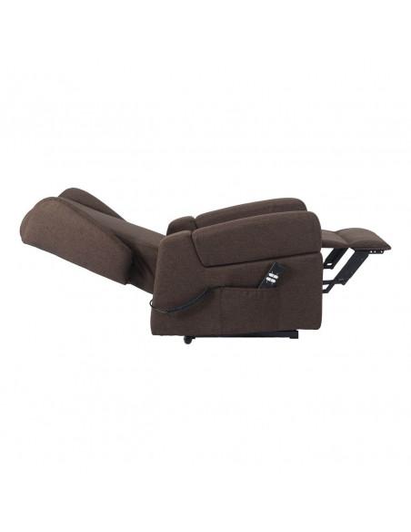 Poltrona relax alzapersona 2mot., braccioli orecchie estraibili x spost utente, sistema ruote, tessuto antimacchia, tavolino