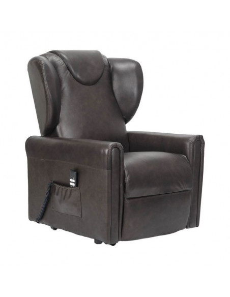 Importante Poltrona reclinabile 2 motori, alzapersona, seduta indeformabile, comoda orecchie laterali, in pelle, media IVA 4%